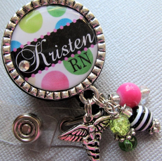 Nurse Personalized Name ID Badge Reel - RN, NP,  nicu, L&D medical office, nurse practitioner, medical symbol charm, nurse graduate