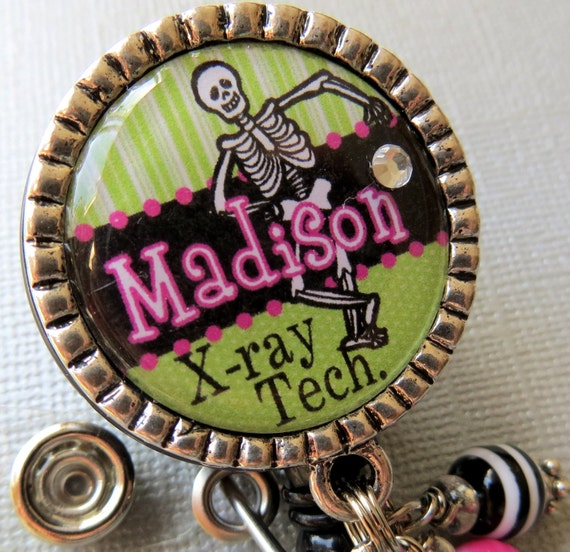 X-ray technician ID Badge Reel Personalized Name Silver Pendant  - Caduceus charm, skeleton, cheetah, leopard,medical symbol