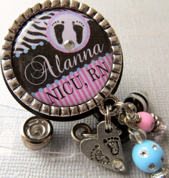 Personalized ID badge reel -NICU nurse, labor and delivery, baby footprints, postpartum, medical office, obstetrician, doctor, nurse