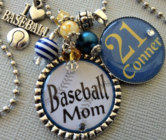 Baseball Mom Football Mom Silver Pendant Necklace - Team Colors - Player Number, Softball, Soccer,Basketball, Helmet, Mother's Day