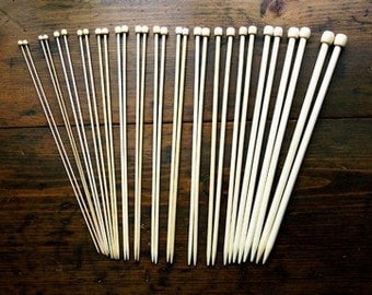 13 1/2 Inch Bamboo Knitting Needle Set - Size 0 through 4