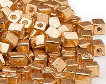 Opaque Metallic Gold Miyuki Square Glass Beads