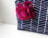 Zipper Pouch Cosmetic Bag - Navy Herringbone with Fuchsia Flower
