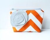 Zipper Pouch Cosmetic Bag - Orange Chevron Stripe with Gray Poppy Brooch Pin