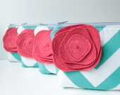Cosmetic Bag, Personalized Bridesmaid Gift Set of 5, Chevron Make Up Bag, Turquoise and Red, More Colors