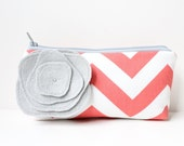 Coral and Gray Clutch, Chevron Clutch Purse, Bridesmaid Gift, Makeup Bag, Flower Brooch, Personalized Colors