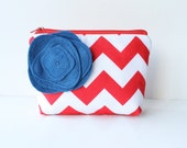 Chevron Cosmetic Bag AND Poppy Brooch - Red and Blue, Zipper Pouch, Bridesmaid Gift