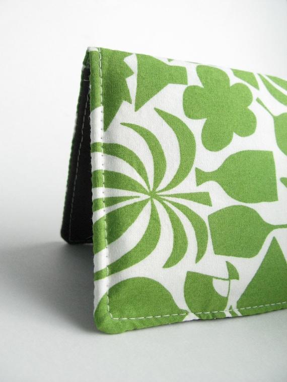 Checkbook Cover - Emerald Green Noguchi Leaf