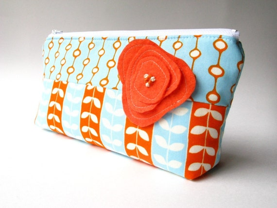 Large Cosmetic Bag - Sprout with Orange Poppy Brooch- LAST ONE