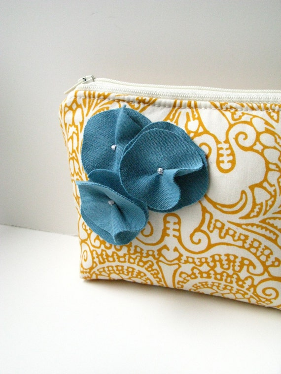 Zipper Pouch Cosmetic Bag - Mustard with Blue Flowers