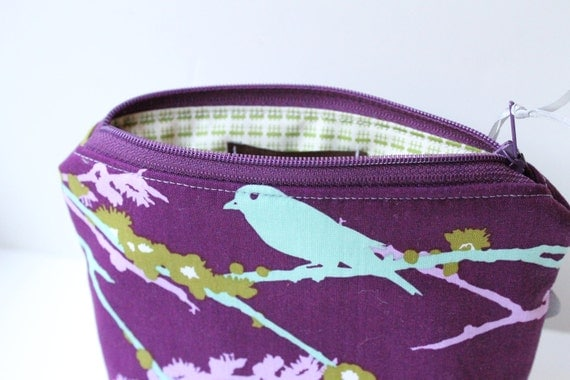 Zipper Clutch - Purple Aviary, Bridesmaid Cosmetic Bag - LAST ONE