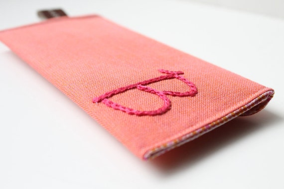 NEW - Snap Card Case- Personalized Embroidered Initial on Coral - Custom Colors Available