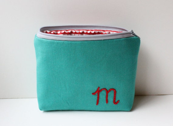 Zipper Bag with Personalized Initial Embroidery - Red on Teal - Mother's Day Gift