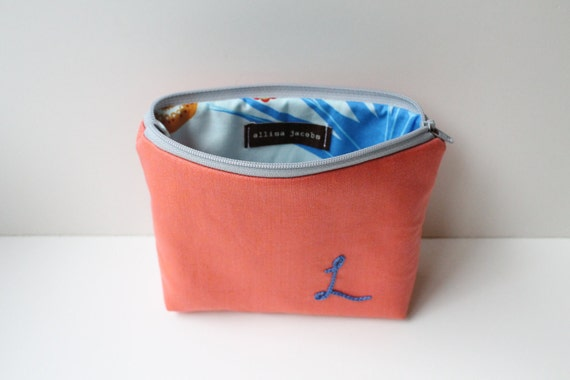 Custom Cosmetic Bag with Personalized Initial Embroidery - Blue on Coral
