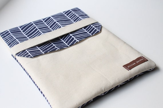 iPad Cover Case - Navy Herringbone with Flap Closure