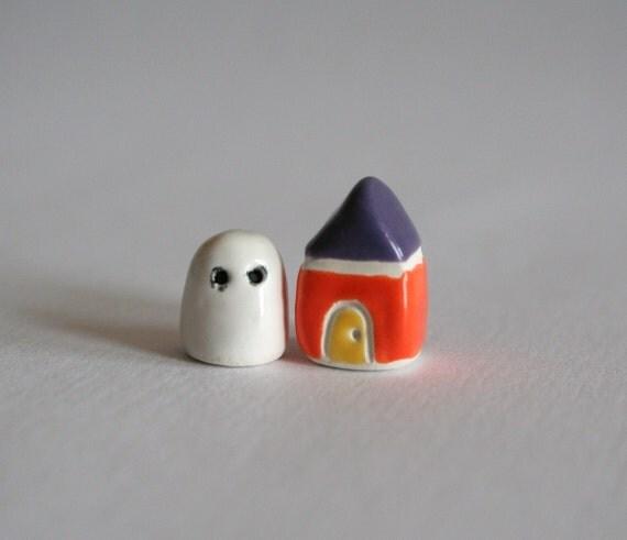 MICRO  Miniature Halloween GHOST and HOUSE