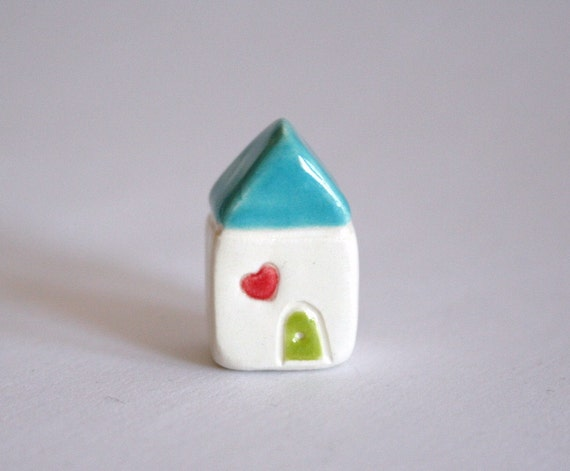 Little Heart Cottage  - Aqua White Lime red - miniature clay houseBlack Friday Etsy Cyber Monday Etsy sale