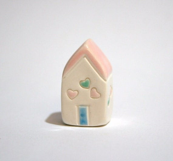SALE Confetti Hearts House - pink blue white - little clay house