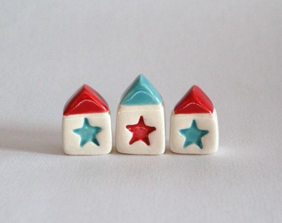 SALE - Little Clay House Set - Star Village - red aqua white