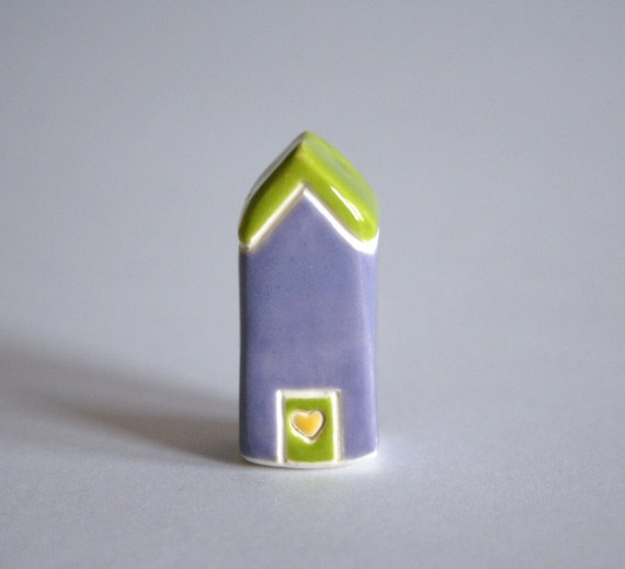 SAVE 25% Little Clay House  - Lime Green Purple Pink Heart
