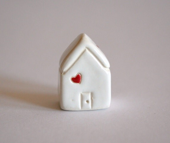 SALE Little Clay House - White red Heart - Miniature Ceramic Cottage