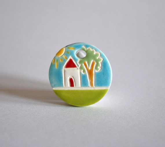 Ceramic Pendant  Charm - Little House In The Woods