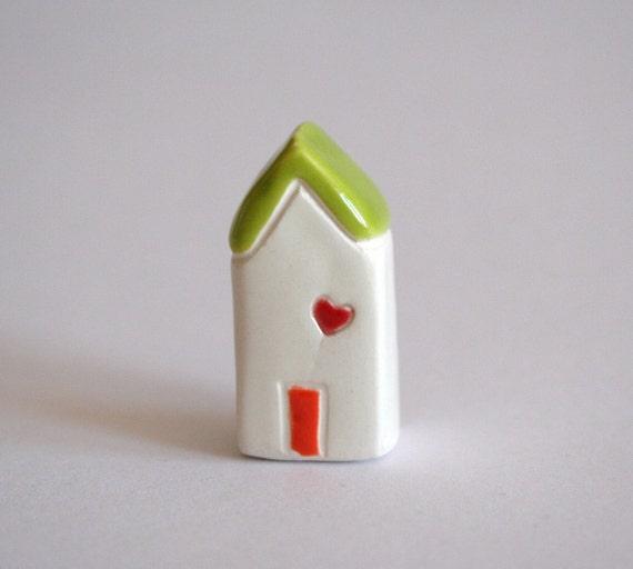 SALE Miniature House - lime orange white citrus