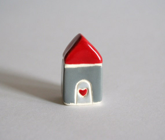 Little Clay House - Red Gray Grey - Miniature Ceramic Cottage