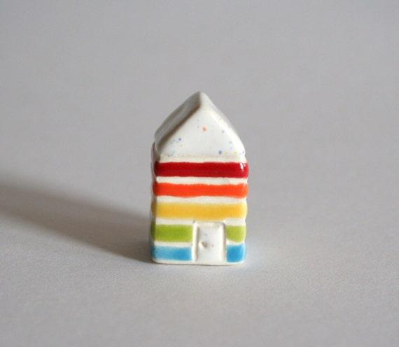 Little Striped House -  Rainbow - Miniature Clay Terrarium