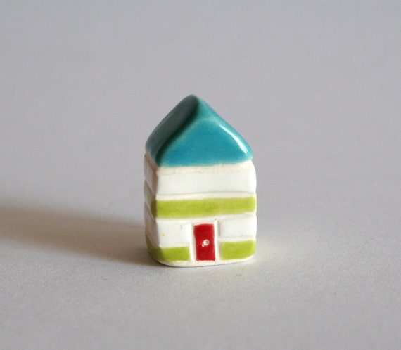 Little House -  Lime white Red Aqua - Stripes