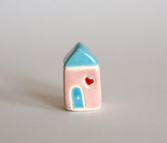 Tiny Heart Cottage  - Pink Blue red - miniature little clay house