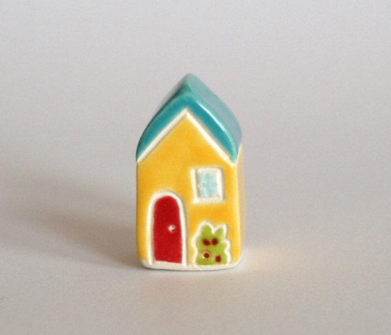 Rose Bush Cottage Little House - Aqua Lemon Red - Miniature Ceramic Clay