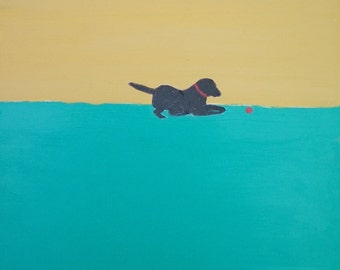 Print of Original Black Labrador Painting 12 x 12