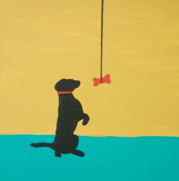 """A Dog and His Bone - 12"""" x 12"""""""