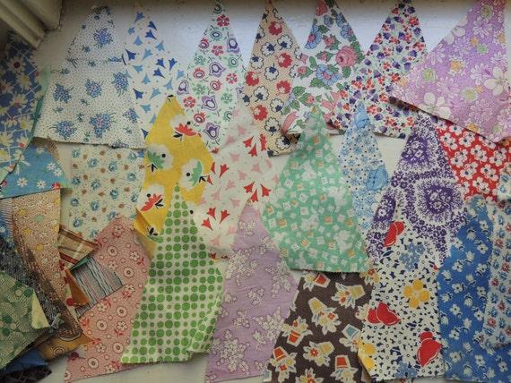 100 Large Feedsack & Vintage Fabric Triangles