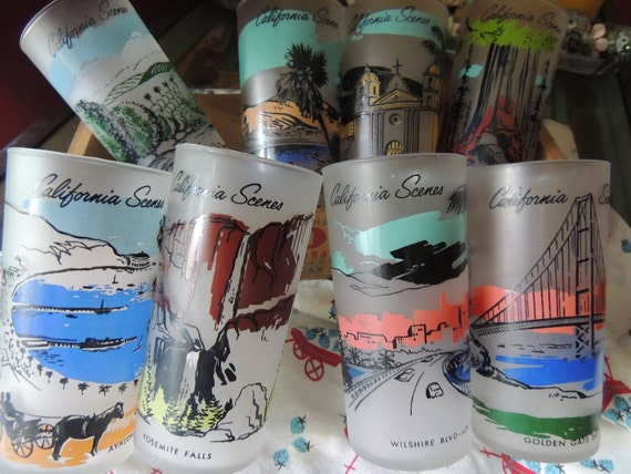 Eight Kitschy Cali Souvenir Glasses
