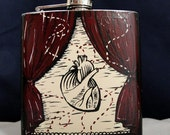 My Heart Beats for Booze 6oz Handpainted Flask