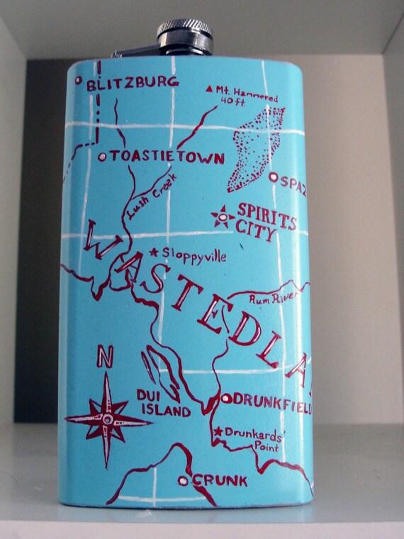 Wastedland 8oz Handpainted Map Flask