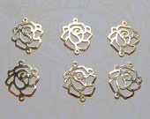 14k Gold filled rose connectors, gold filled charms - 4 PCS