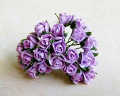 Lavender Lilac, Gorgeous Purple Paper Rose Bud Supplies - 10 Stalks