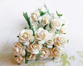 Medium Cream Paper Roses Supplies - 20 Stalks