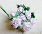 2 tone Lilac Lavender/ White paper Roses Supplies - 20 Stalks