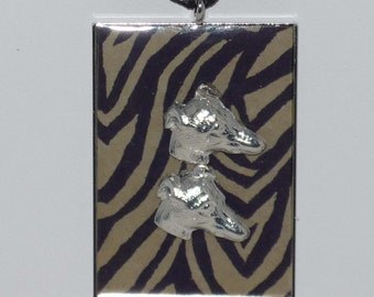 Necklace w Brindle Pendant and 2 Silver Plated Greyhound Dog Heads