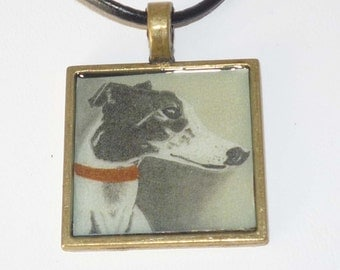 Black and White Greyhound Dog Pendant Necklace Whippet