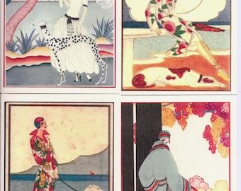 Vogue/Art Deco Greyhound Dog Art Notecards Set of 4 w/env