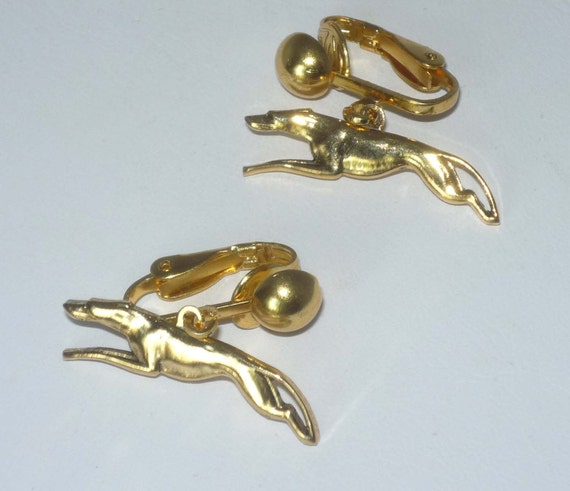Greyhound Dog Jewelry CLIP ON Earrings with Gold Plt Stretch Running Greyhound Charms GP