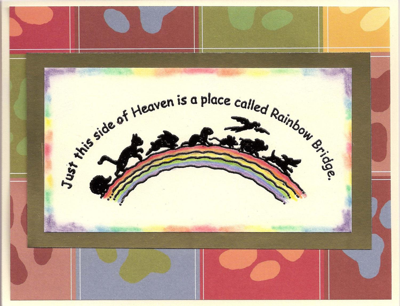 Pet Rainbow Bridge Sympathy Card Dog Cat Bird Bunny By Suebero