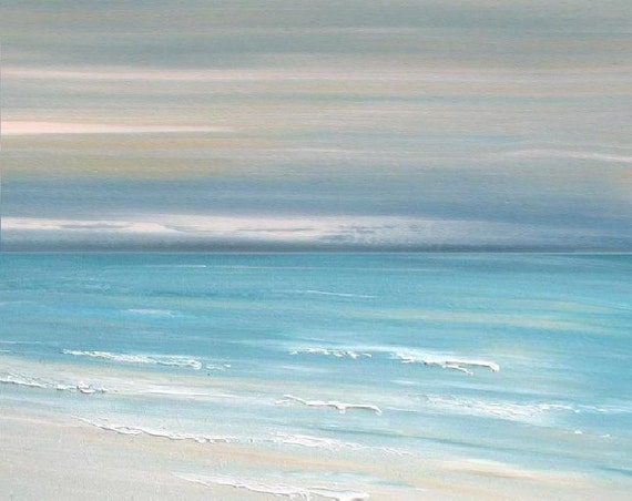 Beach Ocean Wall Decor : Beach ocean art painting abstract wall print