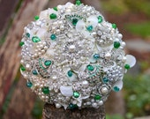 Emerald green and pearl jewel encrusted brooch bouquet -- deposit on a made to order brooch bouquet
