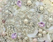 Deposit on a pearls and pastel brooch bridal bouquet -- made to order bridal bouquet